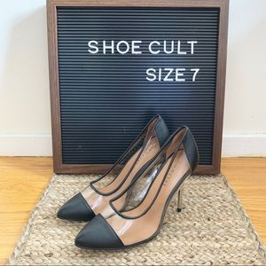 Shoe Cult -Transparent black pumps with metal heel